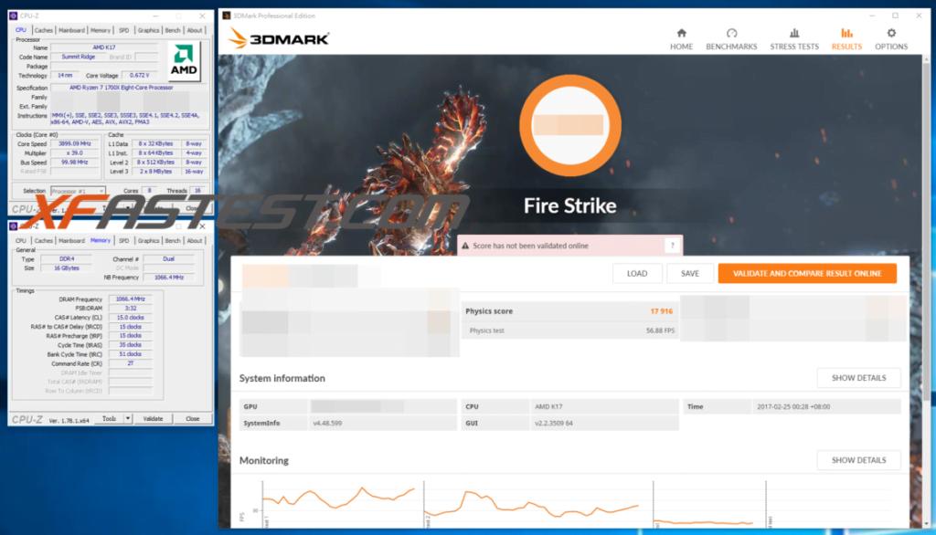 Ryzen 7 1700X 3DMark FireStrike scores