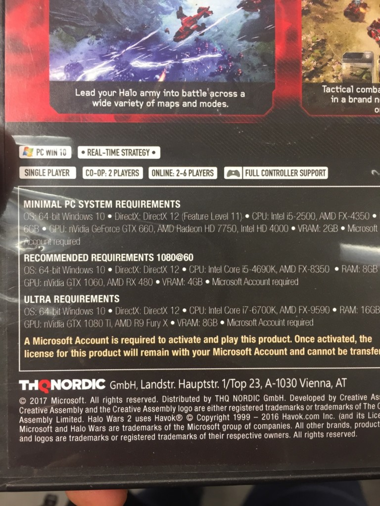 Nvidia GTX 1080 Ti mention Halo Wars 2 requirements
