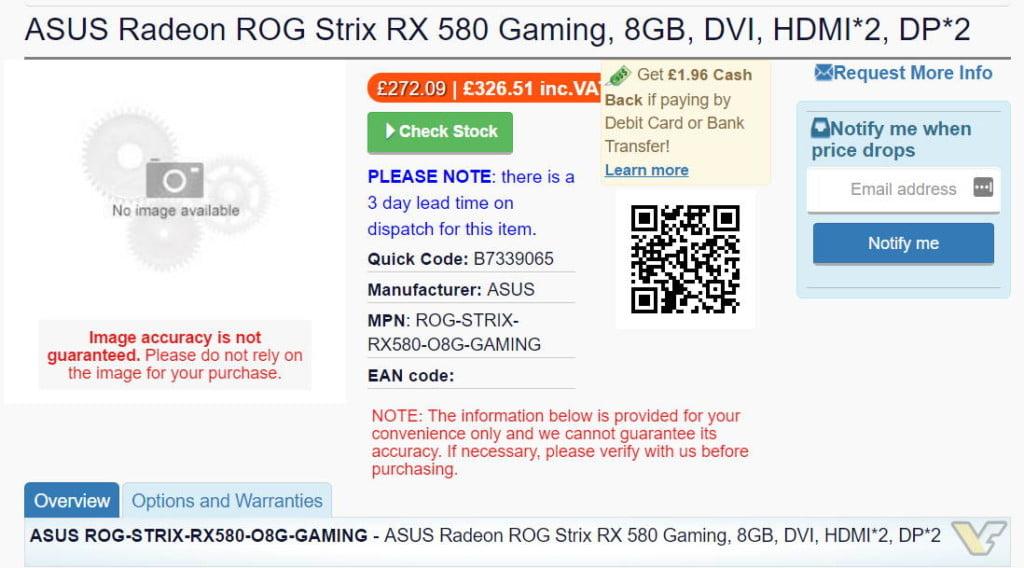 AMD Radeon RX 500 series - Asus RX 580 listing