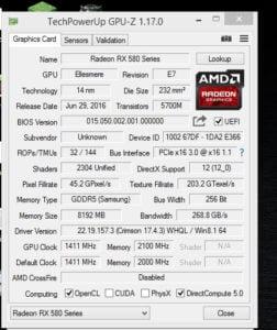Flash RX 480 to RX 580 BIOS GPU-Z