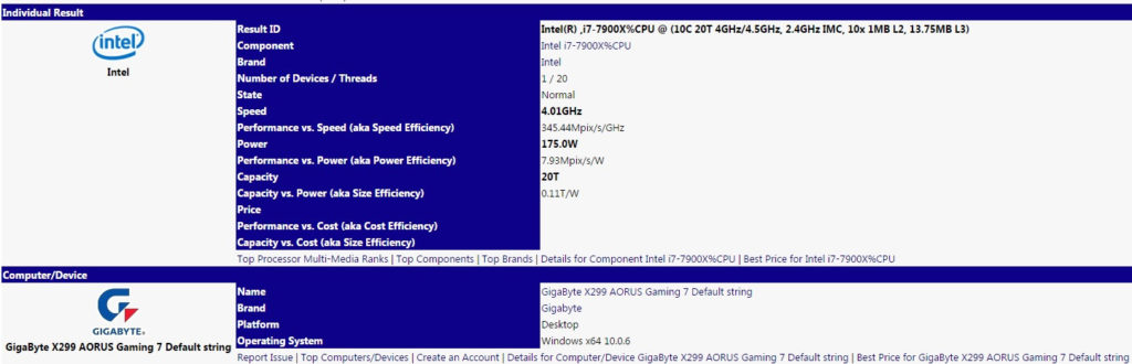 Intel Core i9-7900X specs - SiSoft Sandra benchmark