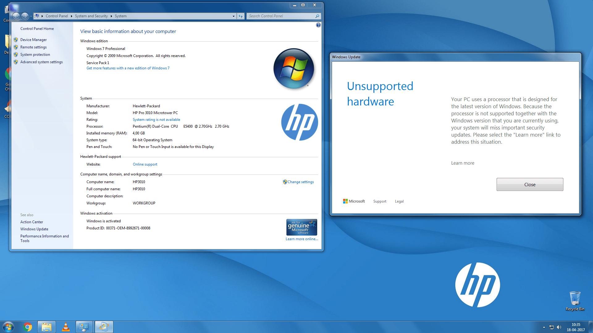 windows 10 update unsupported hardware