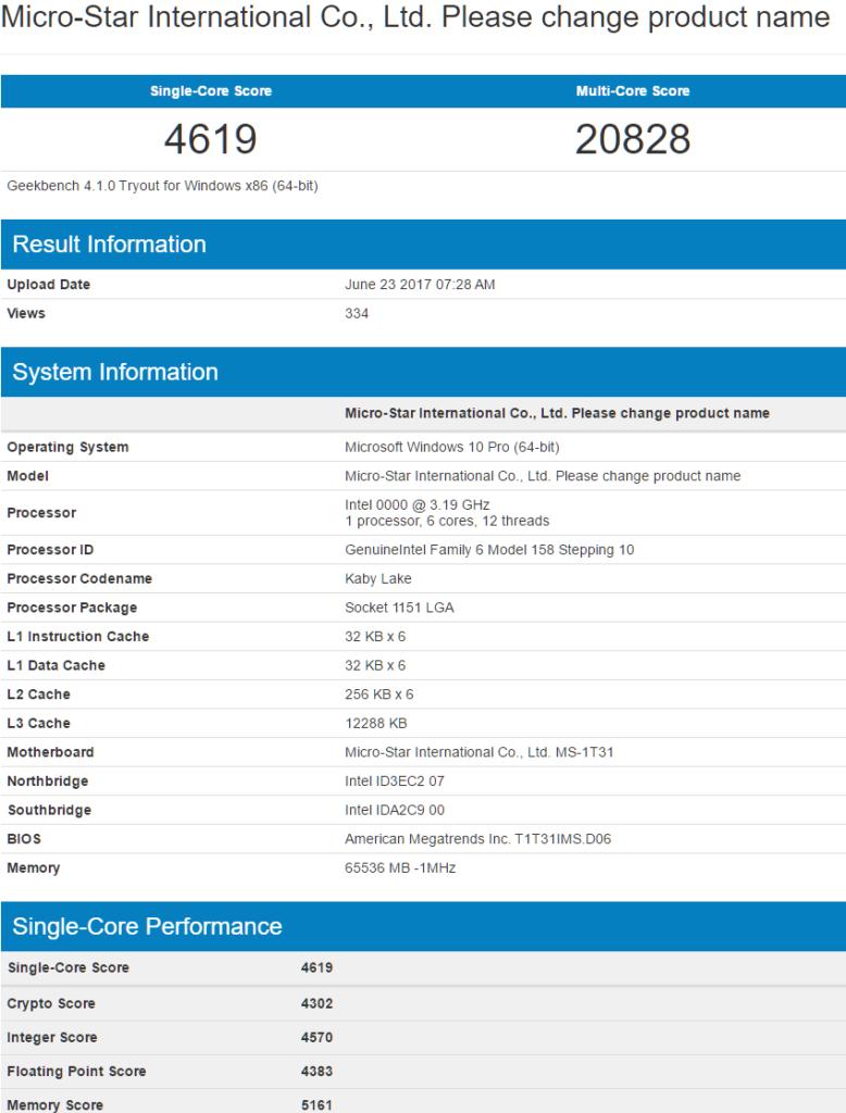 Intel Coffee Lake 6-core CPU Geekbench