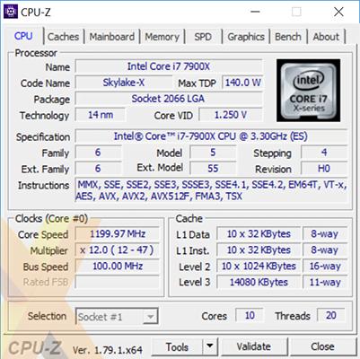 Core i9-7900X Skylake-X OC specs