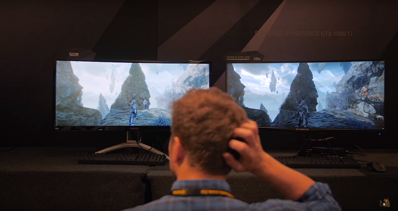 Nvidia SDR vs HDR monitor comparison at Computex