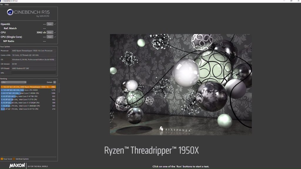 AMD Threadripper 1920X Cinebench R15