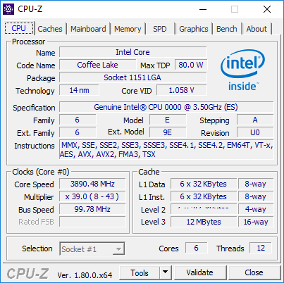 Intel 6-core Coffee Lake CPU-Z screenshot