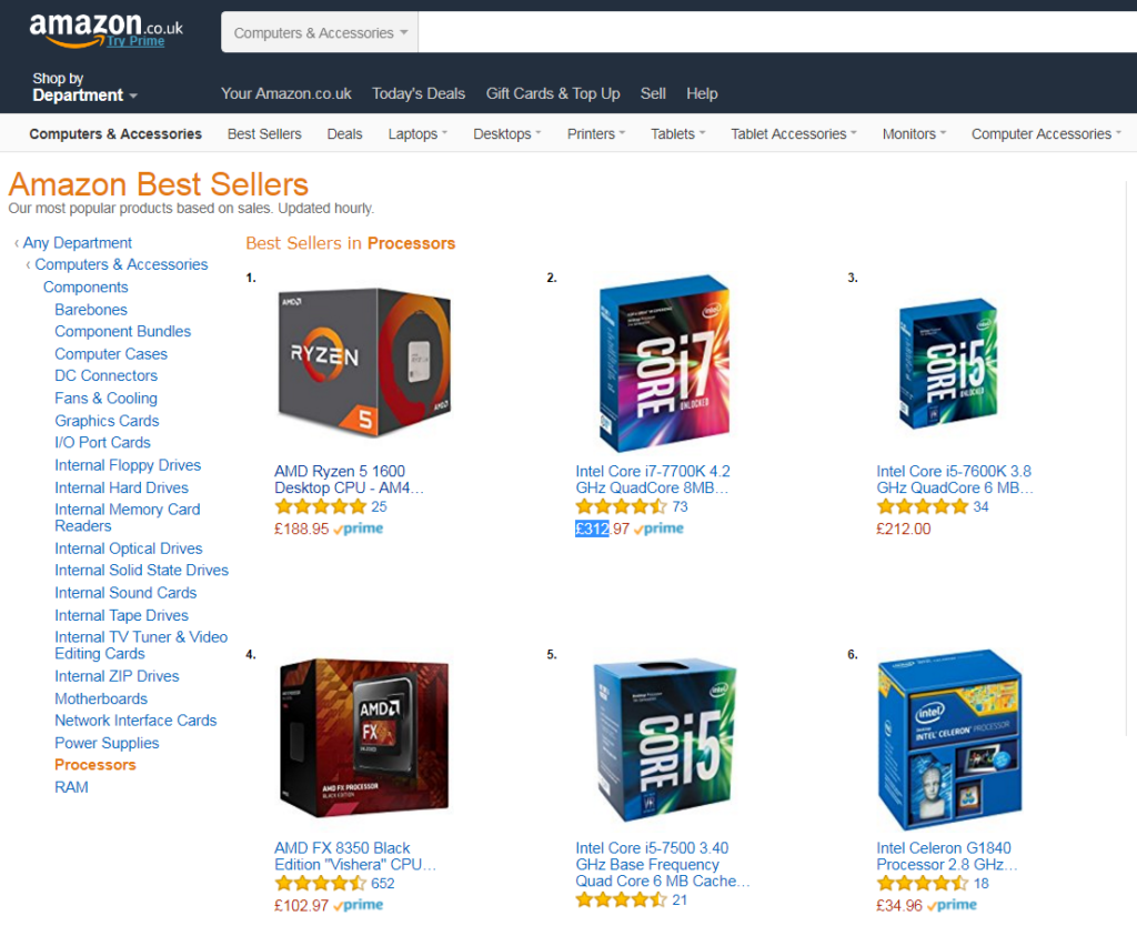 AMD Ryzen 5 1600 becomes Aamazon's best selling CPU