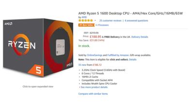 AMD Ryzen 5 1600 leads Amazon's Best Sellers List
