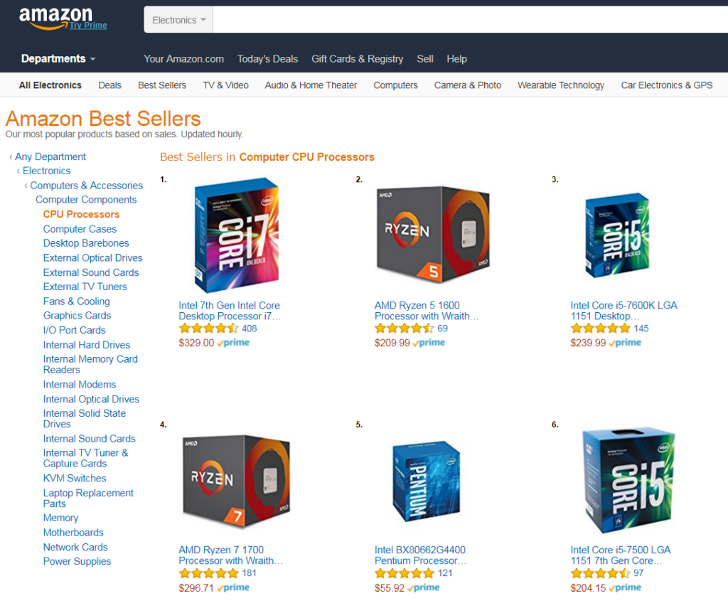 Ryzen 5 1600 vs Core i7-7700K - Amazon's Best Sellers List