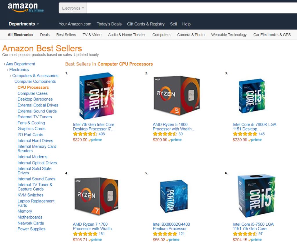 Ryzen 5 1600 vs Core i7-7700K - Amazon's Best Sellers List