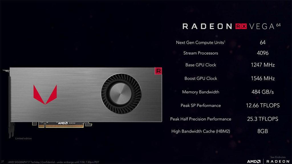 AMD Radeon RX Vega 64 Specifications