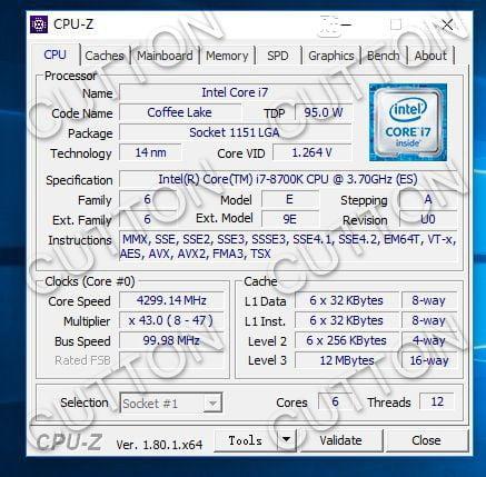 Intel Core i7-8700K CPU-Z