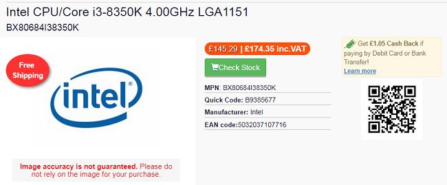 Intel Core i3-8350K UK pricing