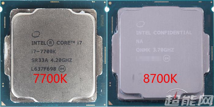 Intel Core i7-8700K vs Core i7-7700K (front)