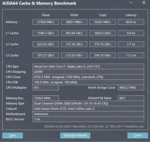 Intel Core i7-8700K AIDA64 memory benchmark