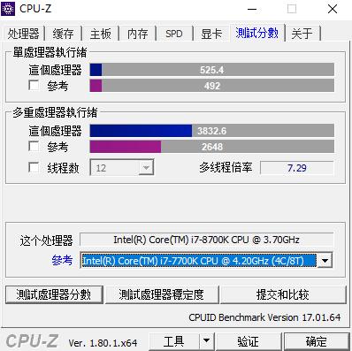 Intel Core i7-8700K CPU-Z benchmark