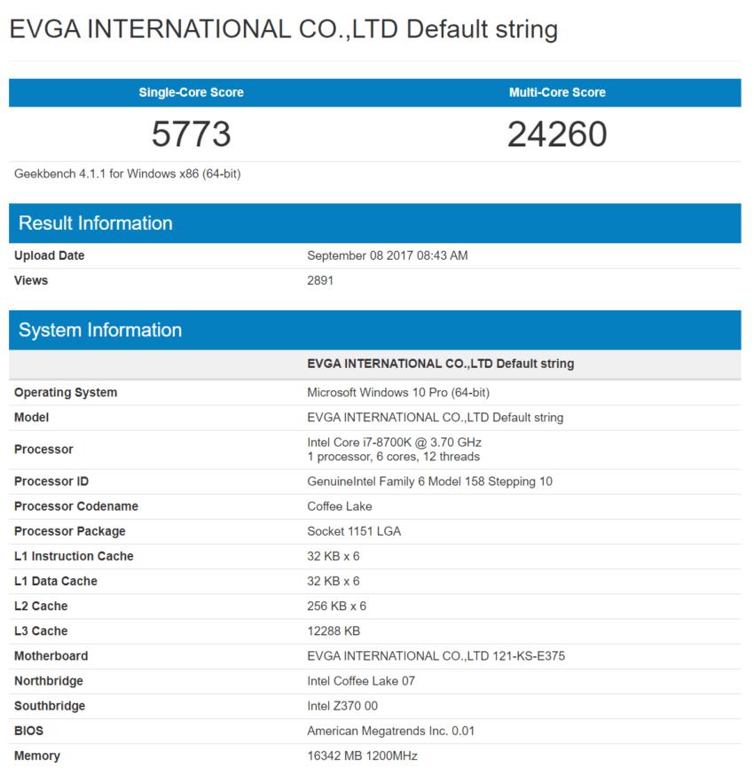 Intel Coffee Lake Core i7-8700K Geekbench benchmarks