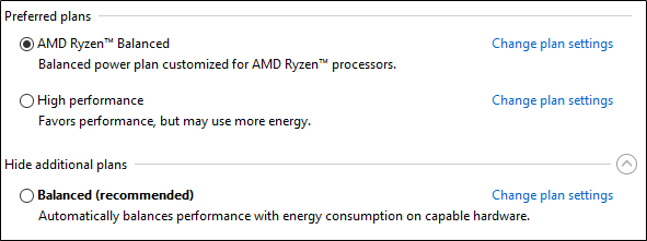 AMD Ryzen Balanced plan default with Windows 10 Fall Creators Update