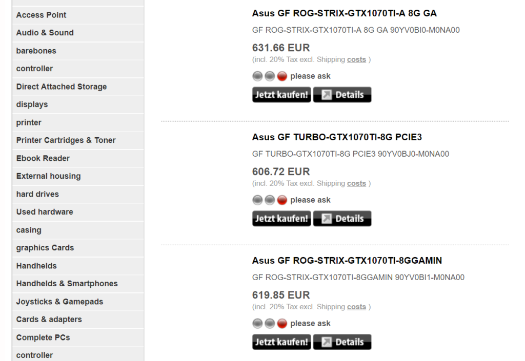 ASUS ROG Strix and Turbo GTX 1070 Ti listings