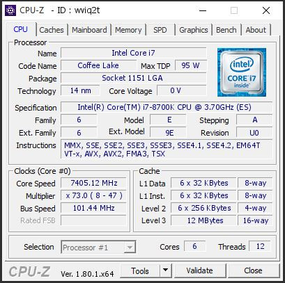 Core i7-8700K OCed to 7.4 GHz CPU-Z