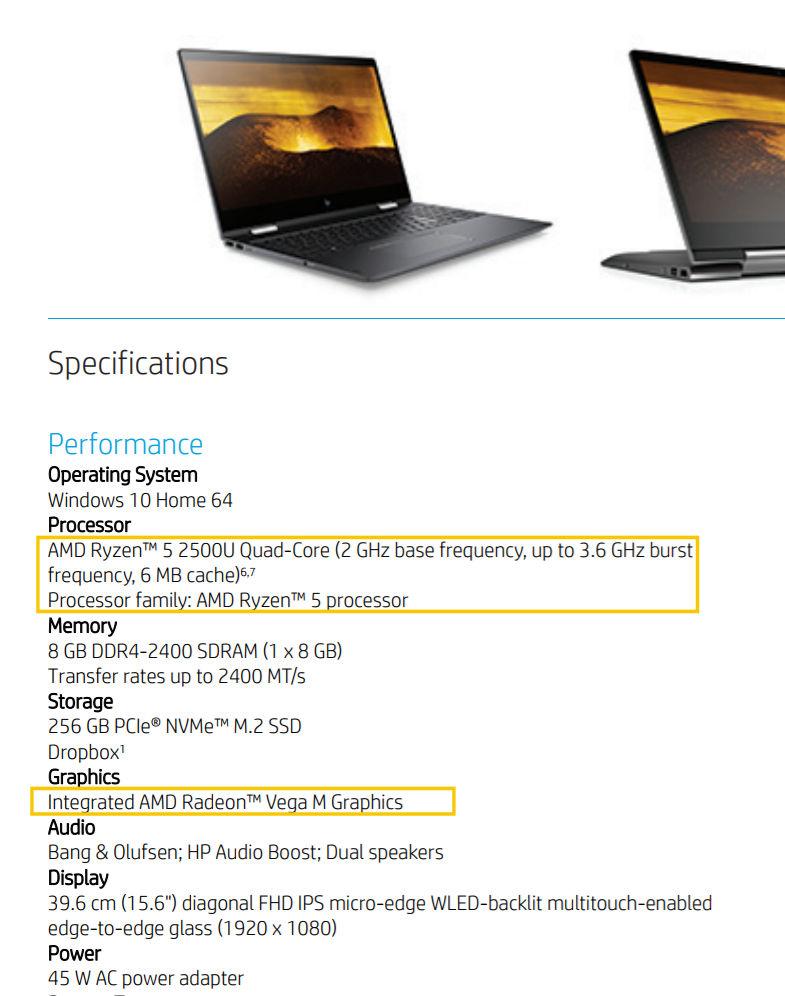 AMD Ryzen 5 2500U Raven Ridge APU spotted in HP Envy x360 listing