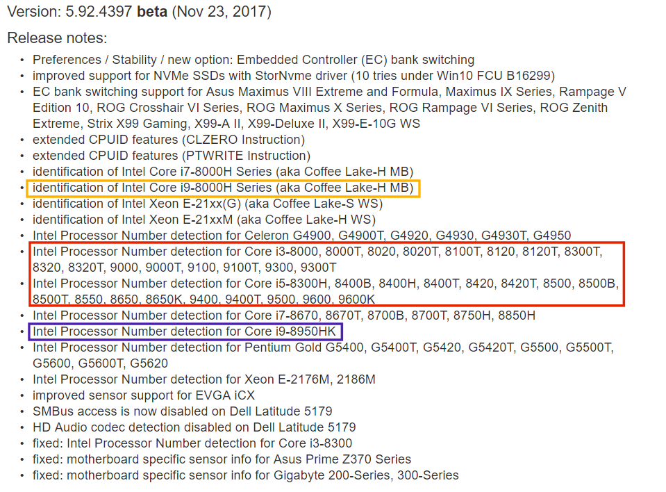 Intel Core i9 Coffee Lake-H series (via AIDA64)