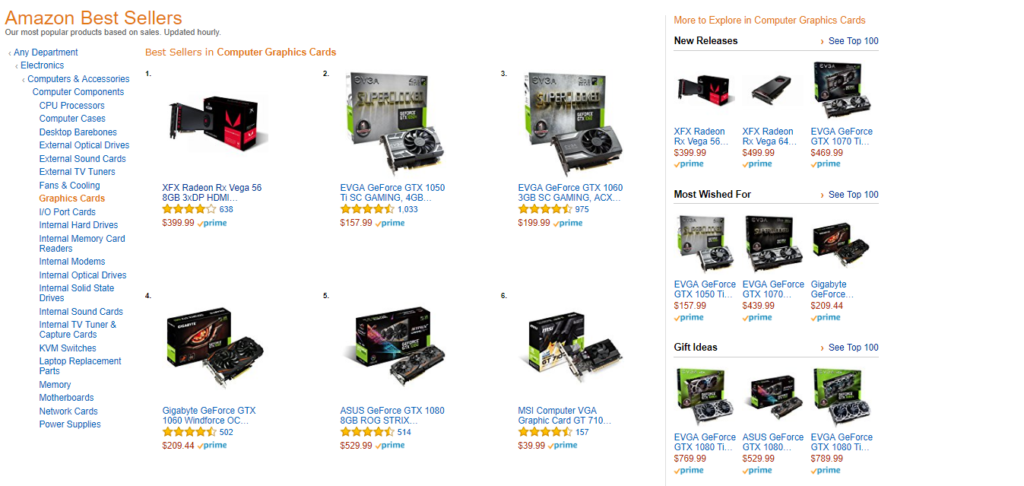 AMD RX Vega 56 #1 on Amazon best sellers list