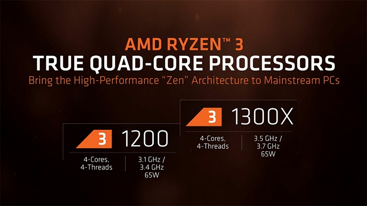 AMD Ryzen 3 1200 & 1300X specs