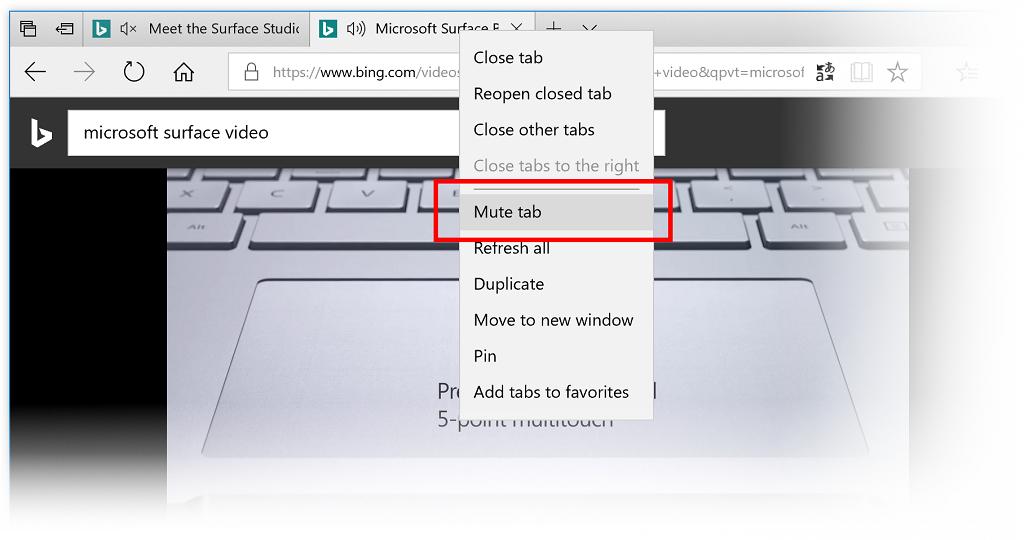 Windows 10 build 17035 Edge tab muting
