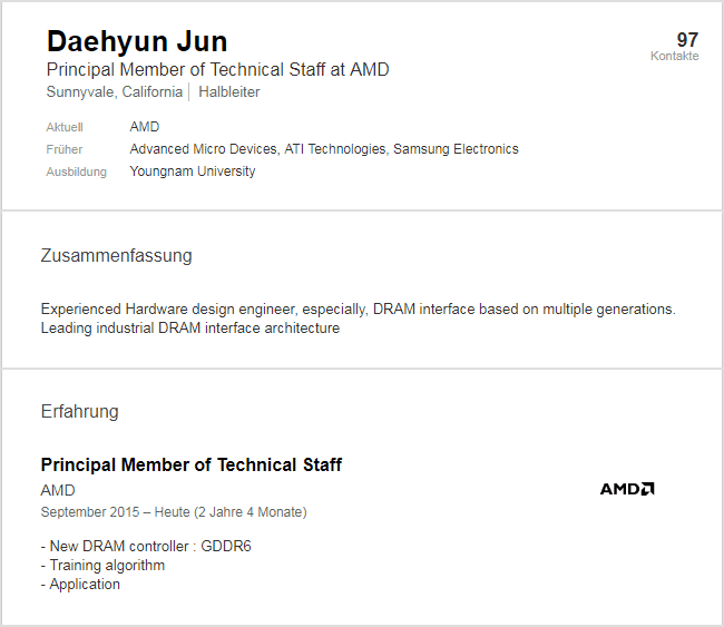 AMD working on GDDR6 memory - LinkedIn profile