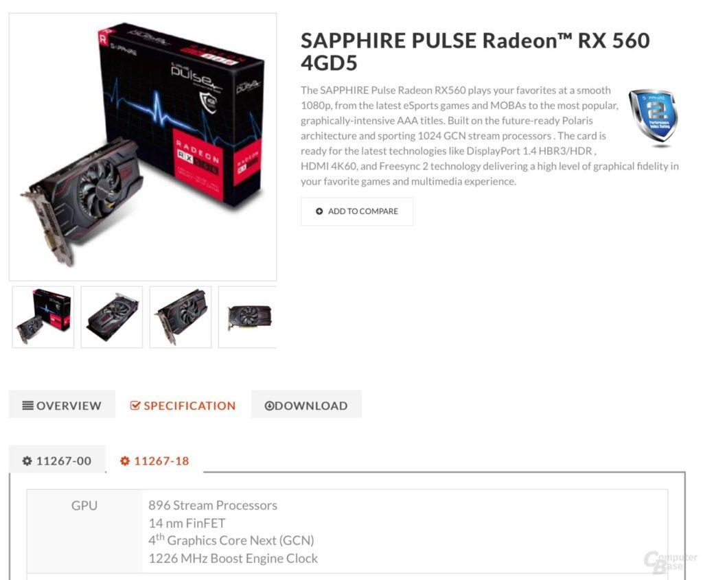 Sapphire Radeon RX 560D listing