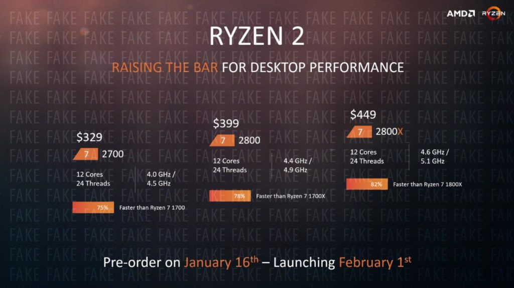 Fake AMD slide showing Ryzen 7 2800X specs and price