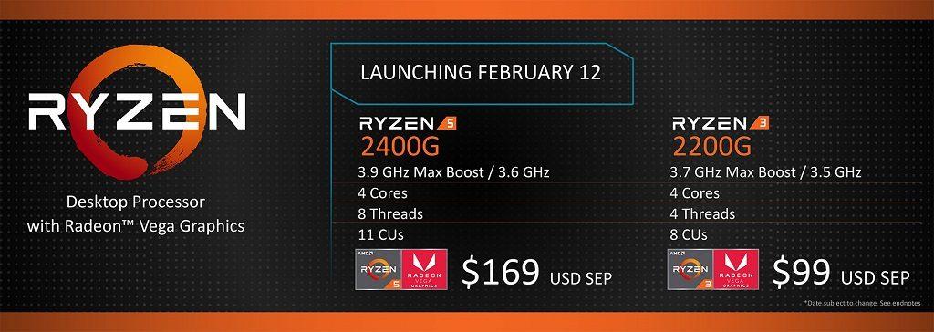 Ryzen 5 2400G and Ryzen 3 2200G Spec