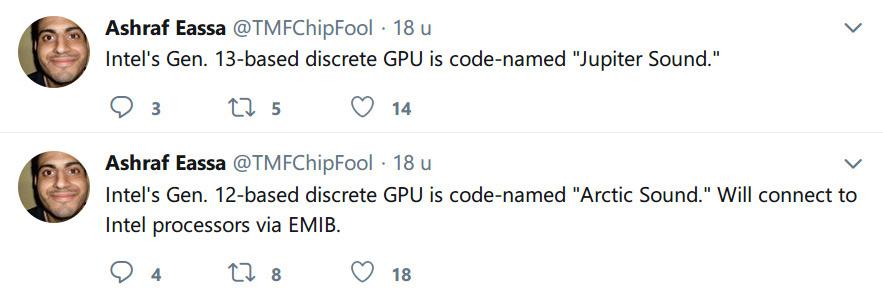 codenames for Intel discrete GPUs rumored
