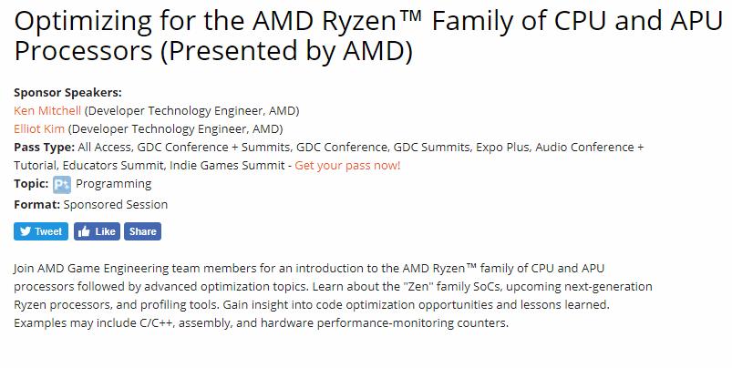 AMD Ryzen Gen 2 details at GDC 2018