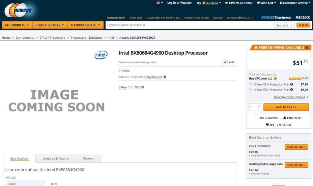 Celeron G4920 listed on Newegg