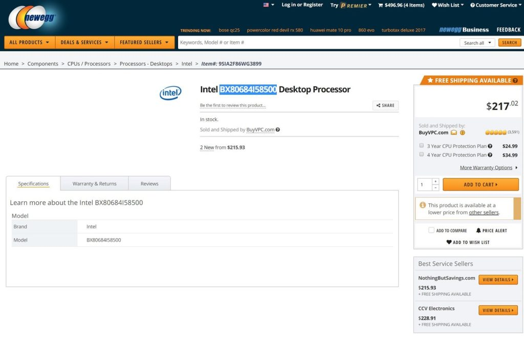 Core i5-8500 listed on Newegg