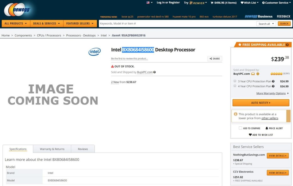 Core i5-8600 listed on Newegg