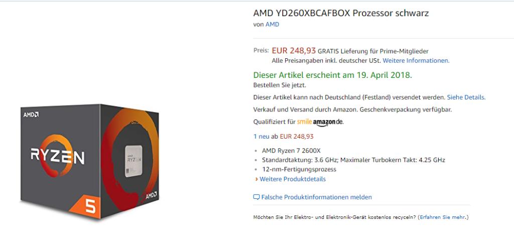 AMD Ryzen 5 2600X Amazon pre-order