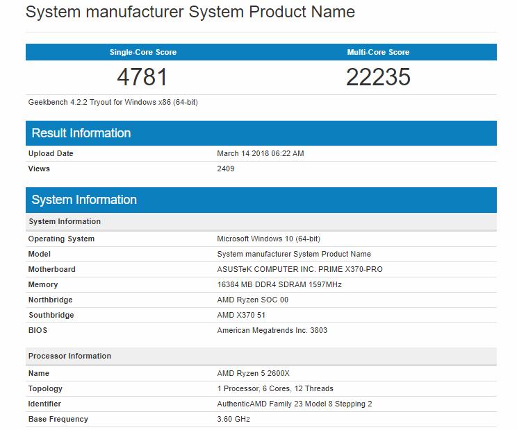 Ryzen 5 2600X Geekbench benchmark