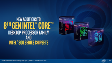 New 8th Gen desktop CPUs and 300-Series Chipsets