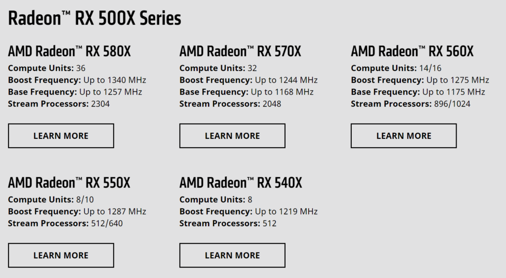 AMD RX 500X series lineup