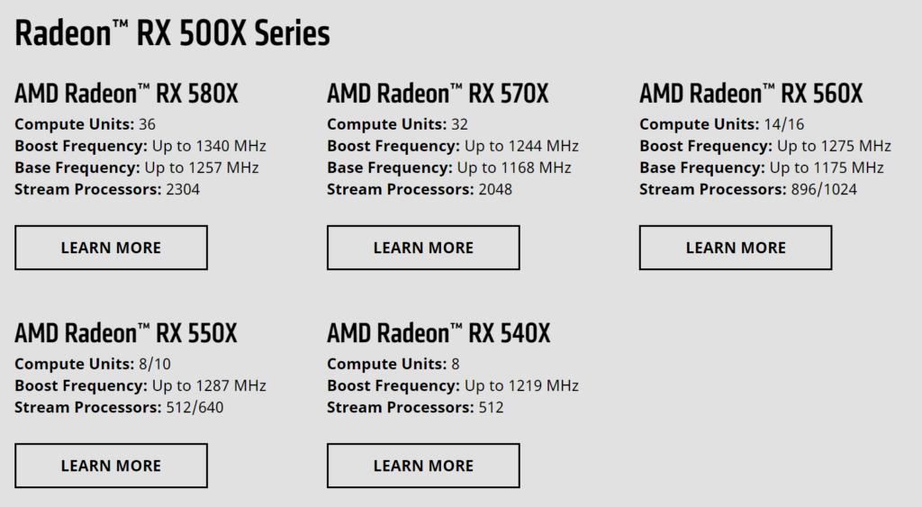 AMD RX 500X series lineup