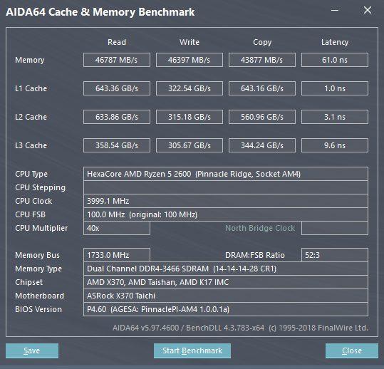 Ryzen 5 2600 AIDA64 benchmark