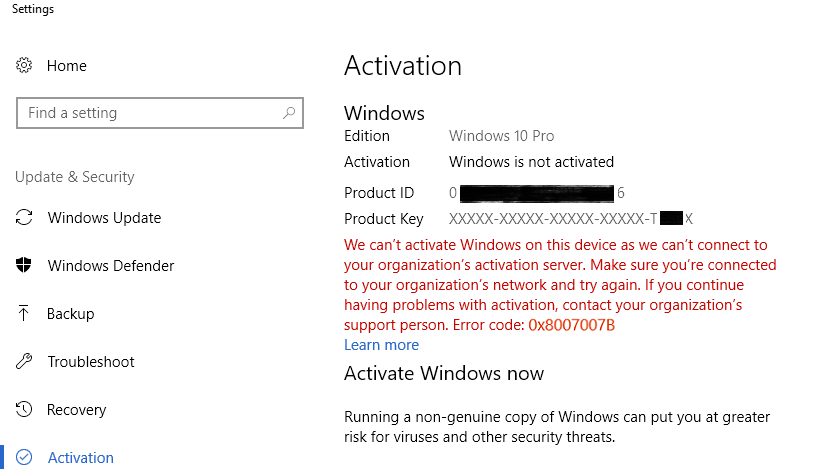 Fix] Windows 10 Activation Error: Can't connect to