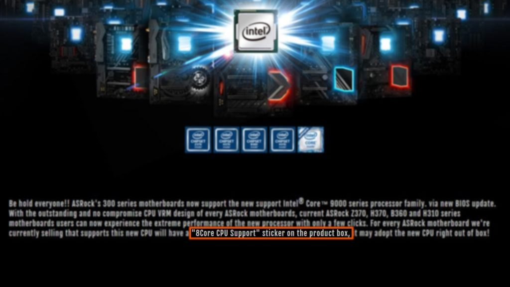 Intel 8-Core Coffee Lake CPU support by ASRock