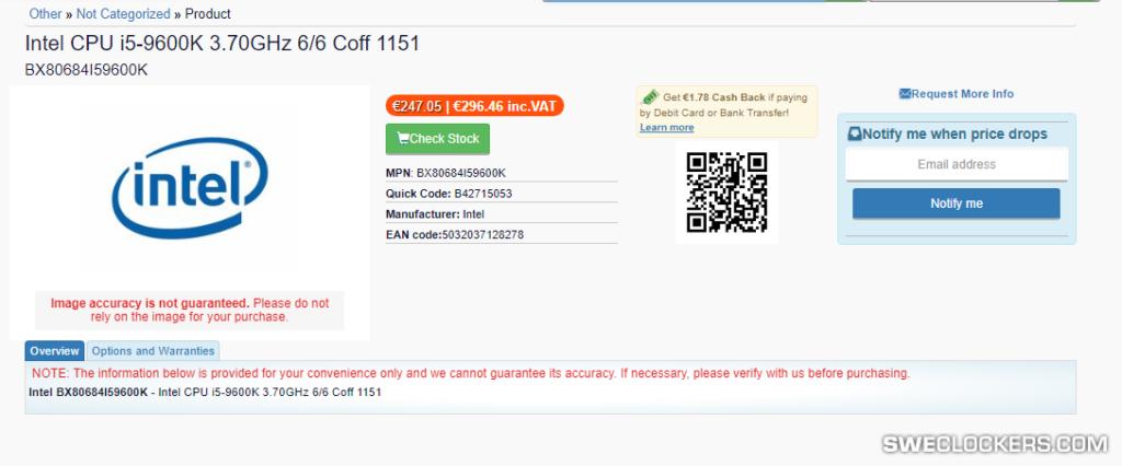 Intel Core i5-9600K price