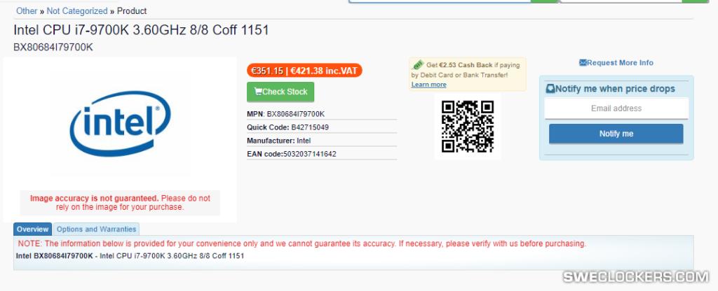 Intel Core i7-9700K price