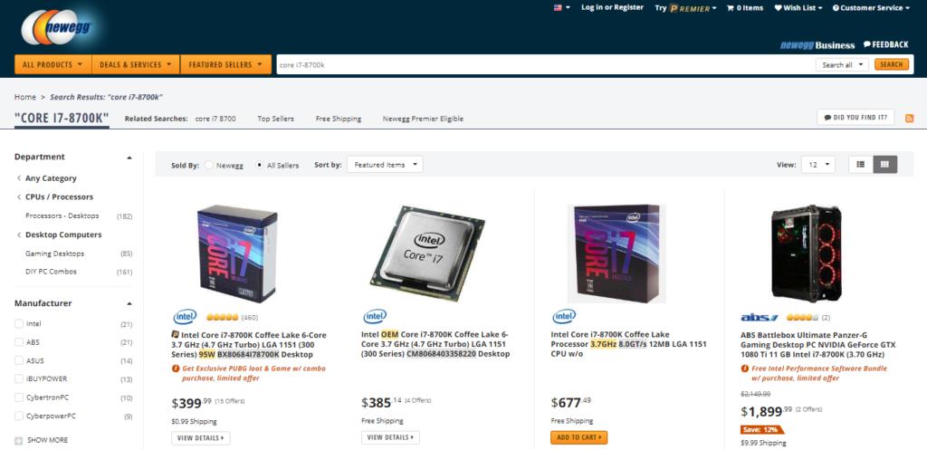 Intel 8th-gen CPU prices: Core i7-8700K Newegg